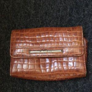 Leather Anne Klein croc clutch